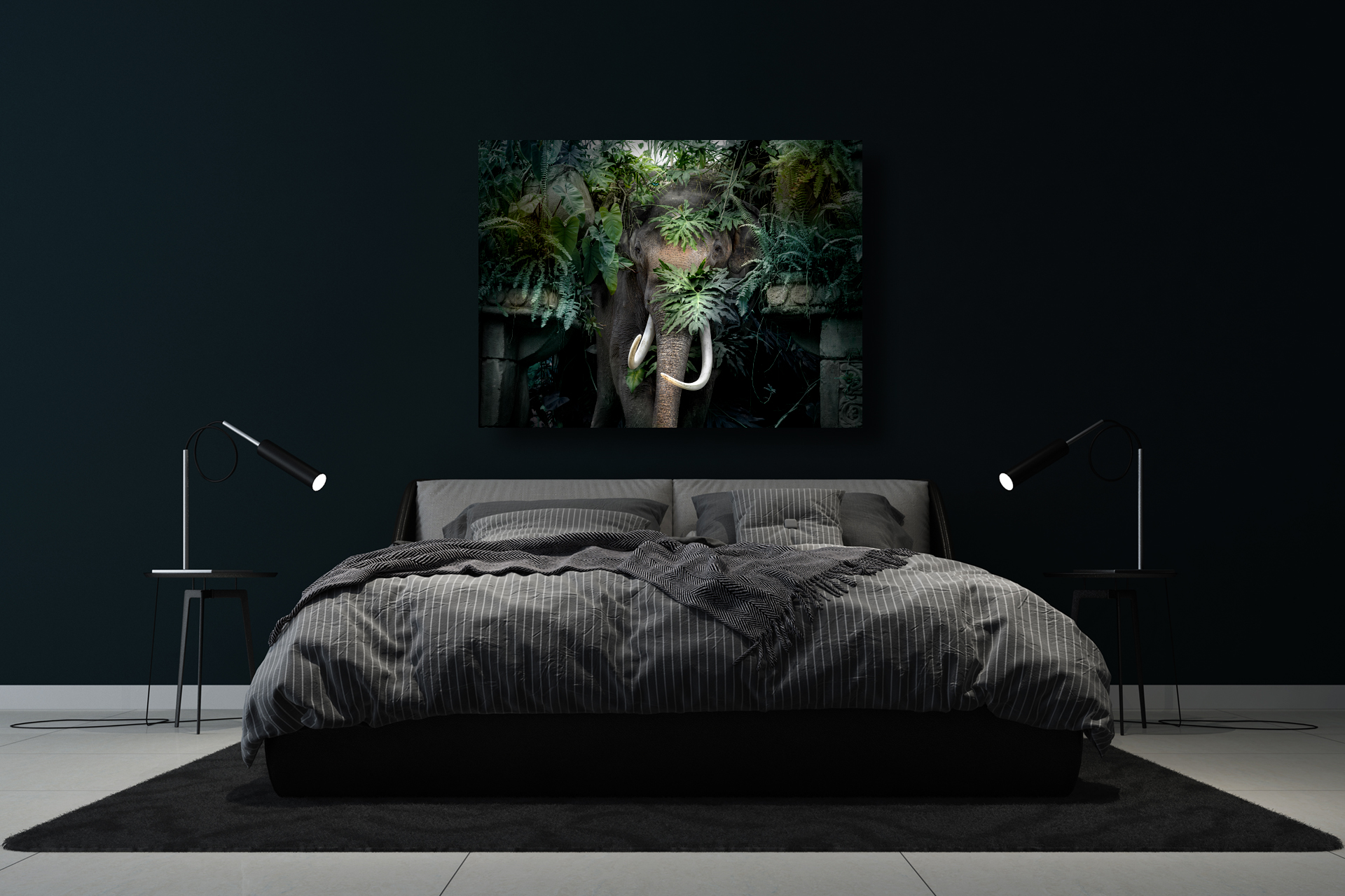 elephant with monstera artwork in bedroom