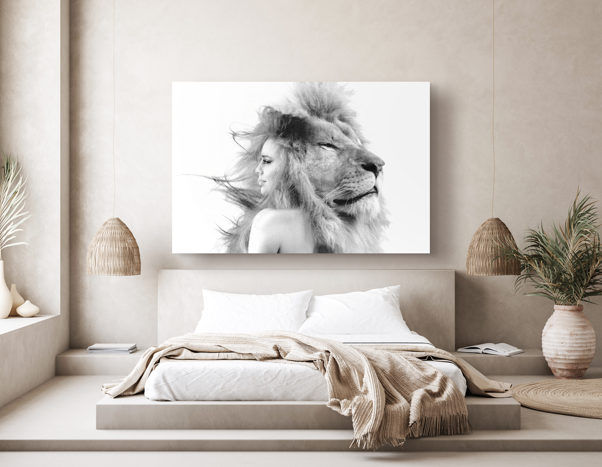 portrait of woman and lion in bedroom