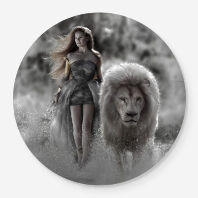 Woman walking with lion