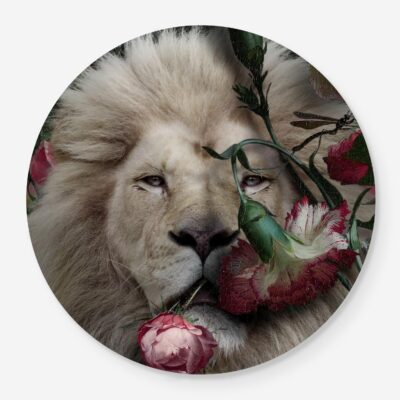 Lion portrait with flowers