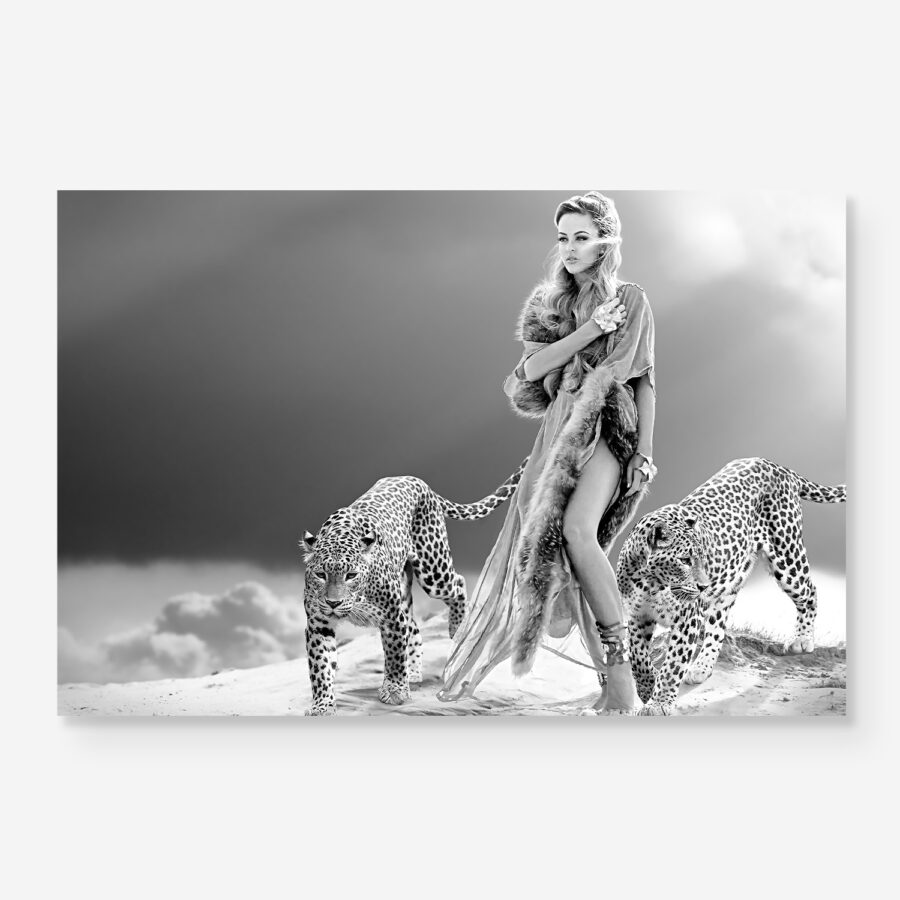 Woman walking with leopards