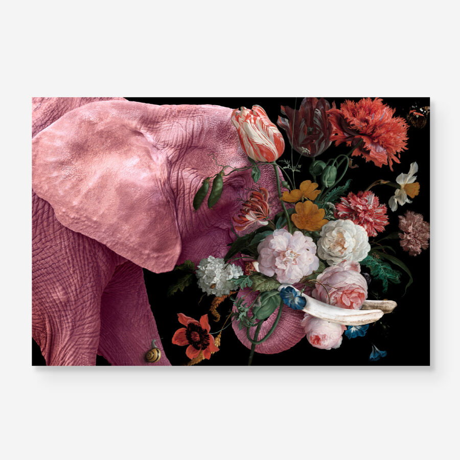 Pink elephant with flowers