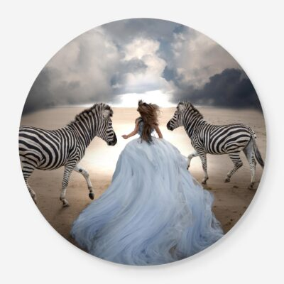 girl in dream dress running with zebras