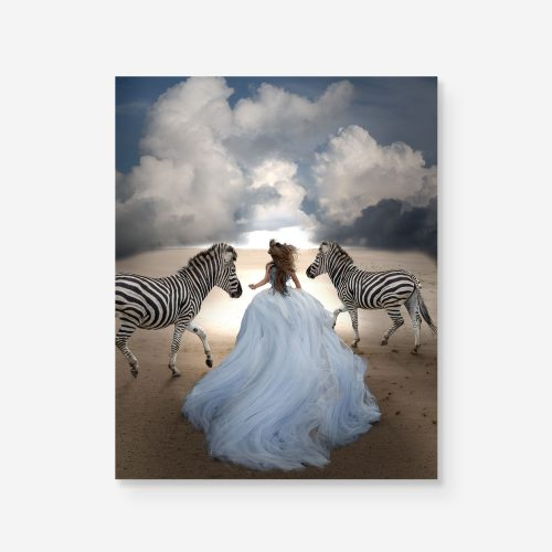 girl in blue dress running with zebras