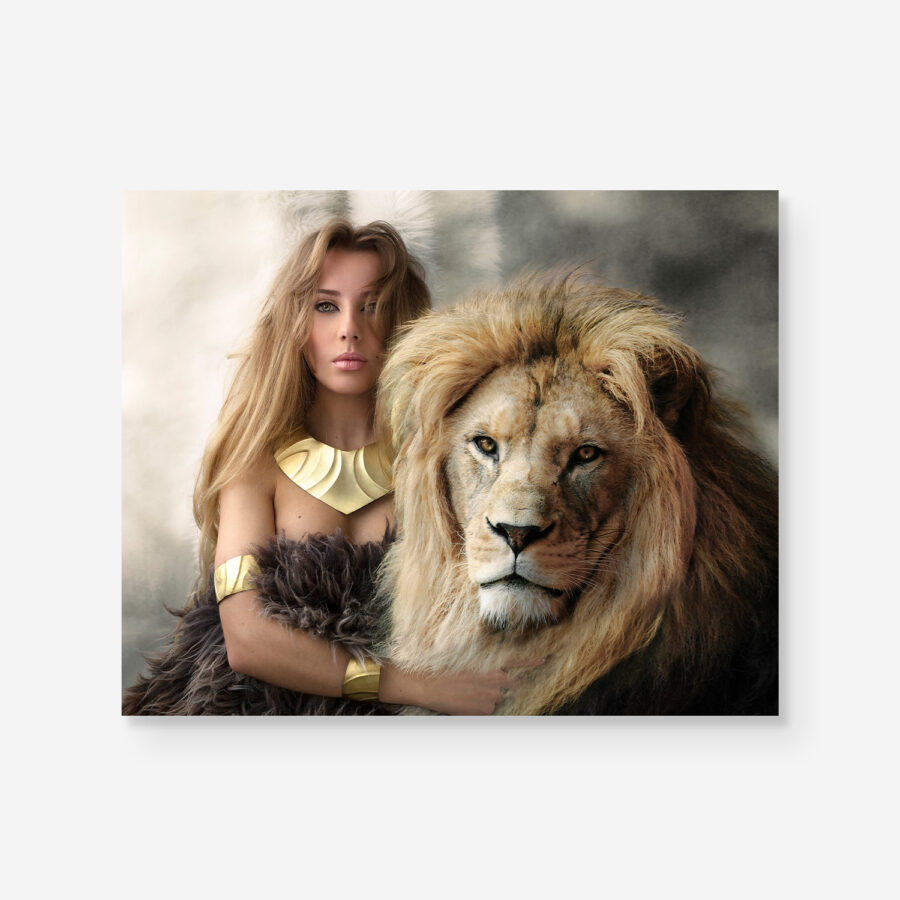 strong portrait of woman together with lion