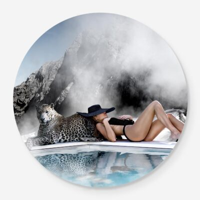 vintage fashion photograph with leopard and woman at the pool