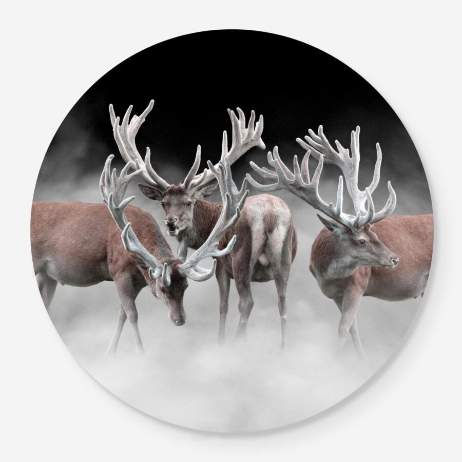 three stags in the mist