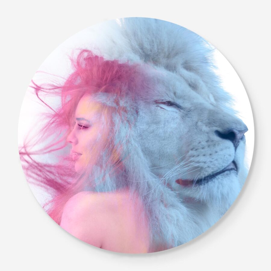 Woman with lion portrait