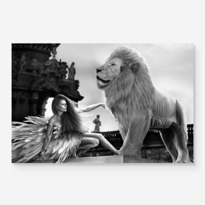 woman with lion in surreal fashion