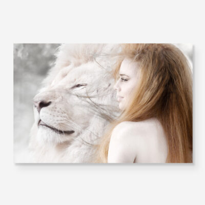 Woman with lion portrait