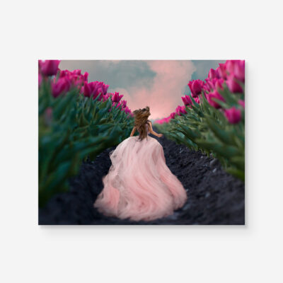 girl running in tulip field