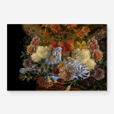 Tiger cub with flowers