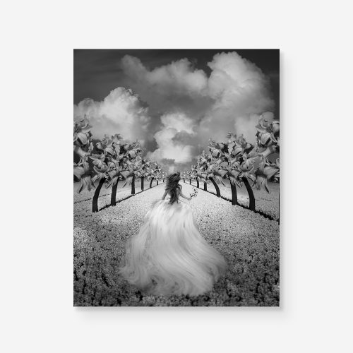 alice in wonderland girl running in a surreal landscape