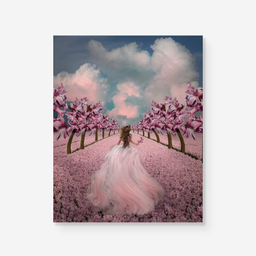 girl running in a field of pink flowers with surreal flower trees