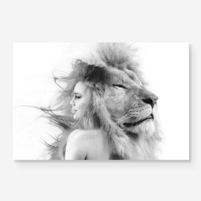 B&W portrait of woman with lion portrait